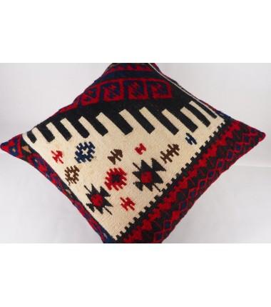 Turkish Kilim Pillow 19x19, ID 411, Kilim From Hakkari