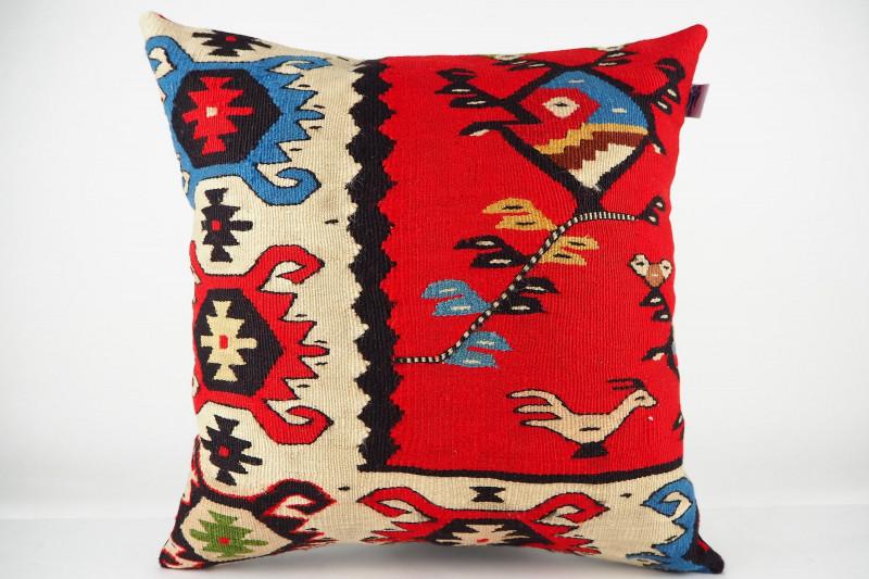 Turkish Kilim Pillow 16x16, ID 447, Kilim From Sarkoy