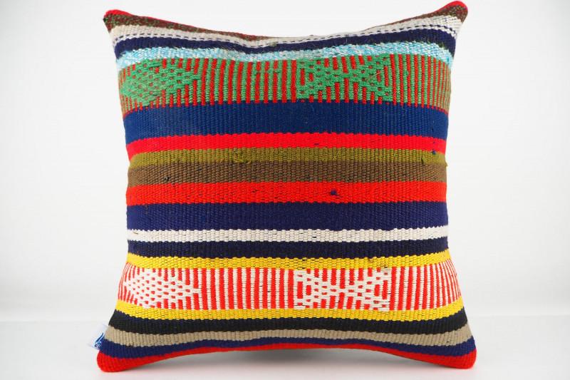 Turkish Kilim Pillow 16x16, ID 446, Kilim From Adiyaman