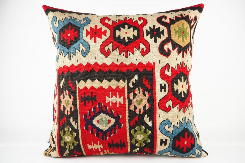 Turkish Kilim Pillow 20x20, ID 438, Kilim From Sarkoy