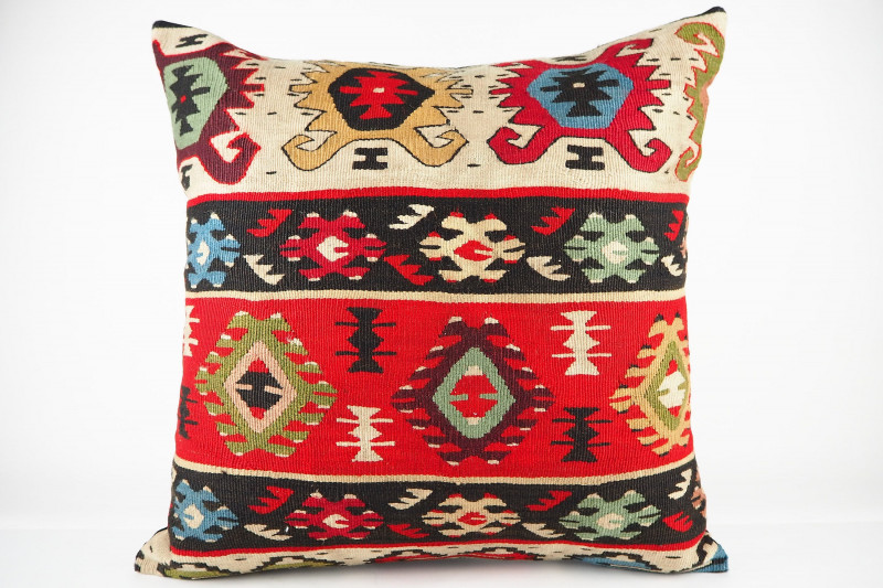 Turkish Kilim Pillow 20x20, ID 437, Kilim From Sarkoy