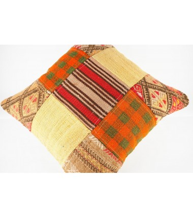 Turkish Kilim Pillow 20x20, ID 435, Patchwork Kilim From Malatya