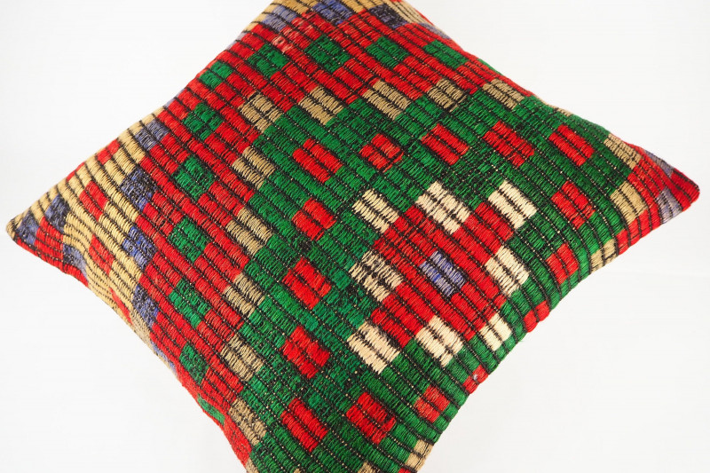 Turkish Kilim Pillow 20x20, ID 428, Kilim From Konya