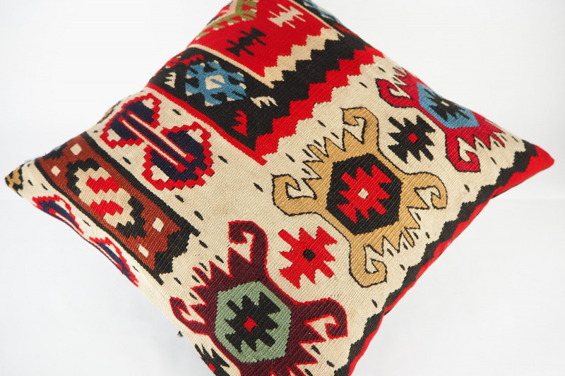 Turkish Kilim Pillow 18x18, ID 420,Kilim From Sarkoy