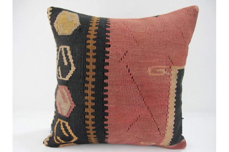 Turkish Kilim Pillow 16x16, ID 266, Kilim From Kars