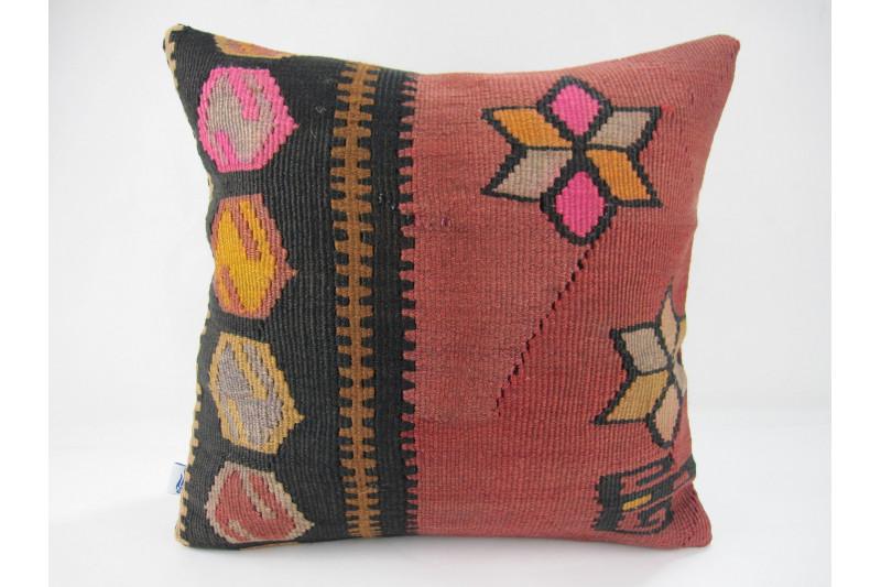 Turkish Kilim Pillow 16x16, ID 264, Kilim From Kars