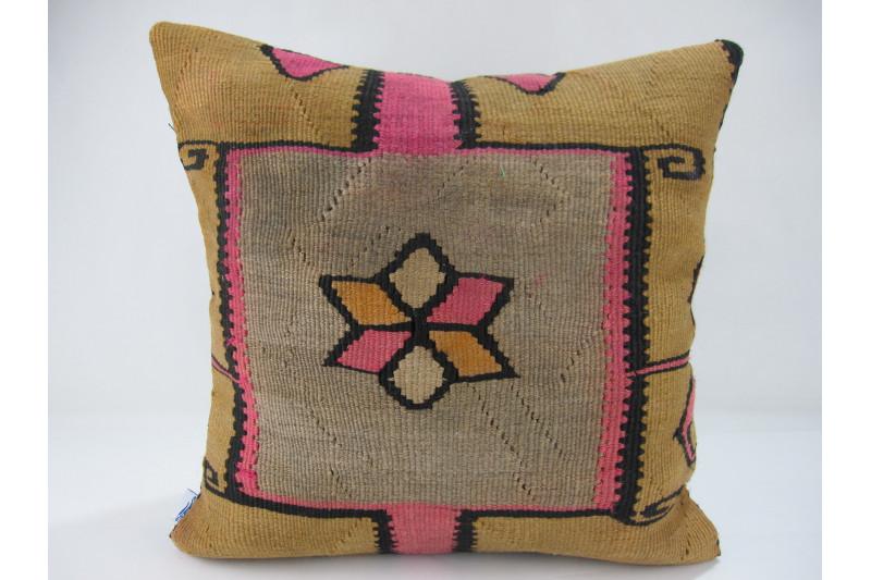Turkish Kilim Pillow 16x16, ID 260, Kilim From Kars