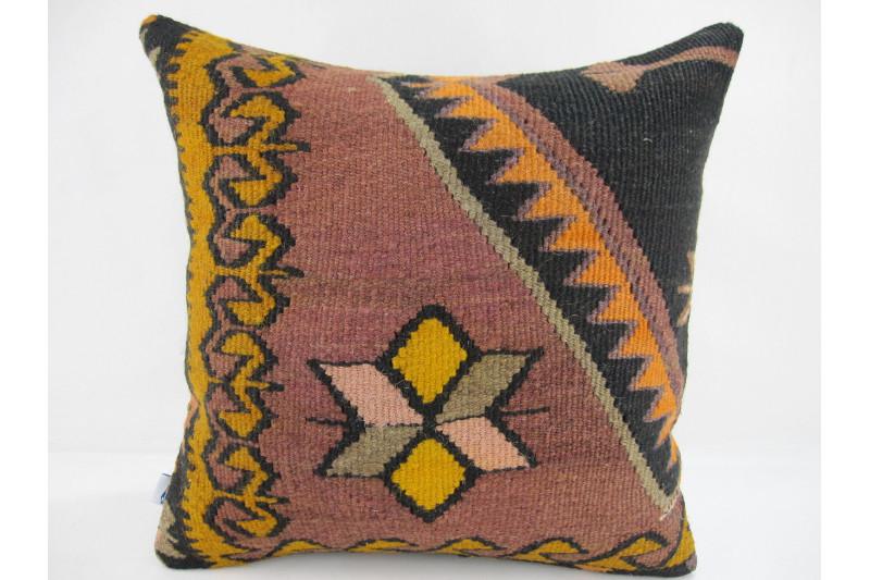 Turkish Kilim Pillow 16x16, ID 251, Kilim From Kars