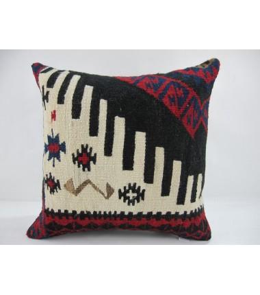 Turkish Kilim Pillow 16x16, ID 247, Kilim From Hakkari
