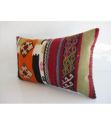 Turkish Kilim Pillow 12x20, ID 158, Kilim From Maras