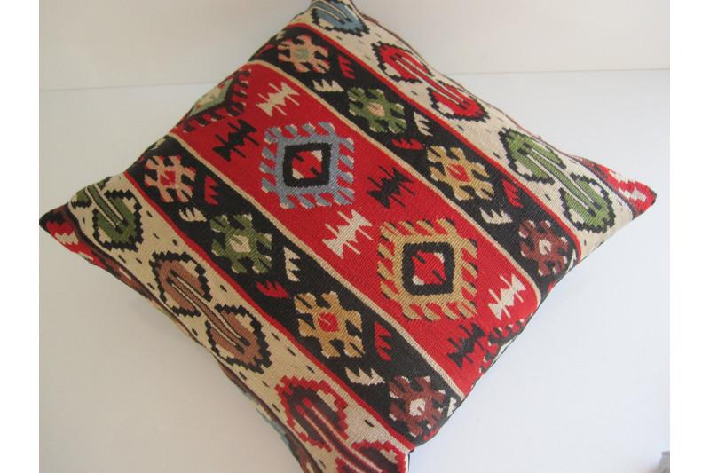 Turkish Kilim Pillow 20x20, ID 171, Kilim From Sarkoy