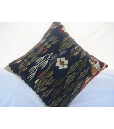 Turkish Kilim Pillow 18x18, ID 006, Kilim From Sarkoy