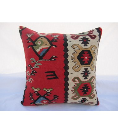 Turkish Kilim Pillow 18x18, ID 005, Kilim From Sarkoy