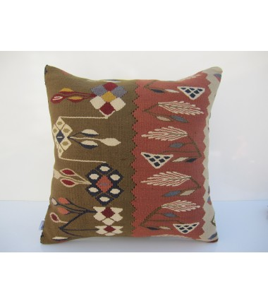 Turkish Kilim Pillow 18x18, ID 063, Kilim From Sarkoy