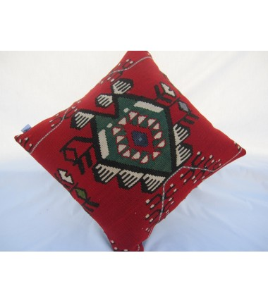 Turkish Kilim Pillow 18x18, ID 001, Kilim From Sarkoy