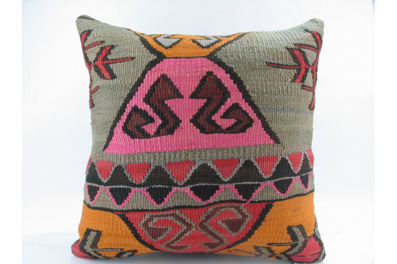 Turkish Kilim Pillow 18x18, ID 188, Kilim From Kars