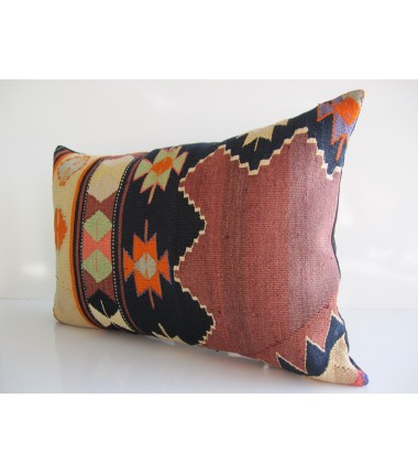 Turkish Kilim Pillow 16x24, ID 167, Kilim From Aydin
