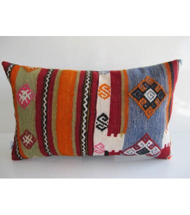 Turkish Kilim Pillow 12x20, ID 162, Kilim From Maras