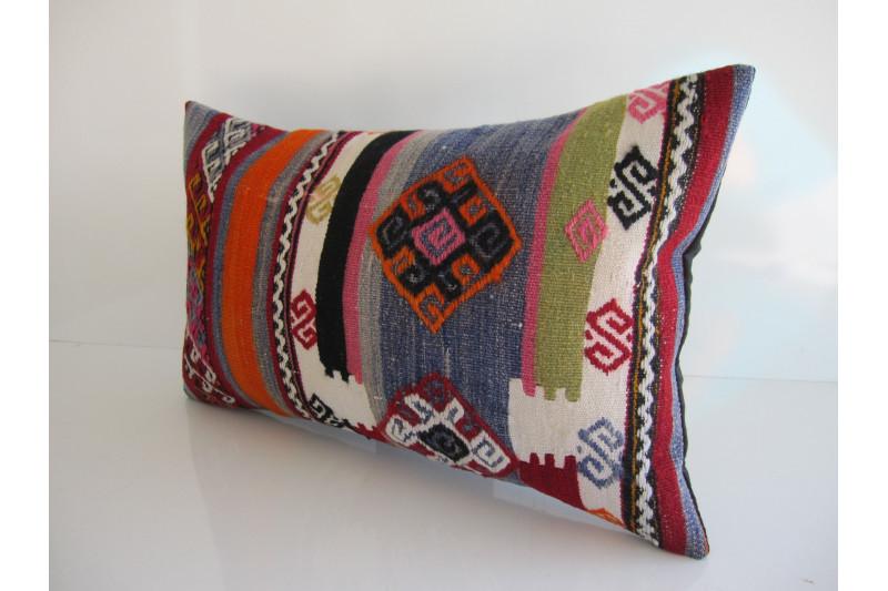 Turkish Kilim Pillow 12x20, ID 159, Kilim From Maras
