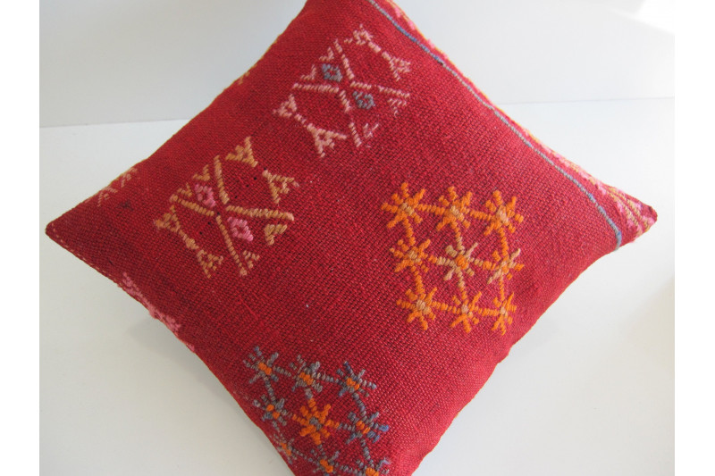 Turkish Kilim Pillow 16x16, ID 145, Kilim From Sivas