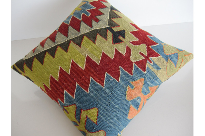 Turkish Kilim Pillow 18x18, ID 137, Kilim From Aydin