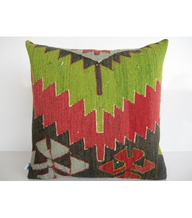 Turkish Kilim Pillow 18x18, ID 136, Kilim From Aydin