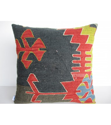Turkish Kilim Pillow 18x18, ID 135, Kilim From Aydin