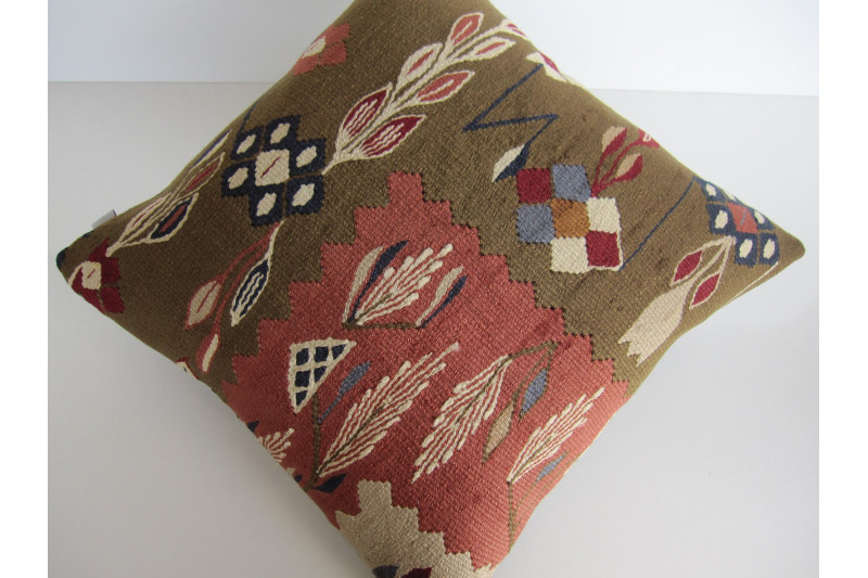 Turkish Kilim Pillow 18x18, ID 132, Kilim From Sarkoy