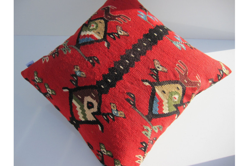 Turkish Kilim Pillow 18x18, ID 130, Kilim From Sarkoy