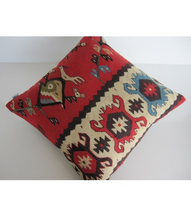 Turkish Kilim Pillow 18x18, ID 131, Kilim From Sarkoy