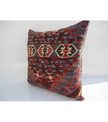 Turkish Kilim Pillow 18x18, ID 128, Kilim From Van