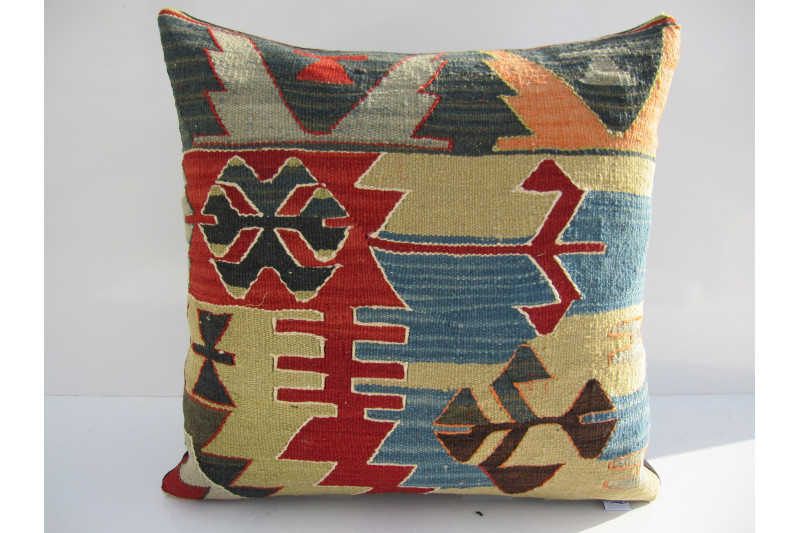 Turkish Kilim Pillow 18x18, ID 127, Kilim From Aydin