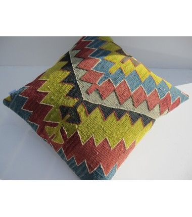 Turkish Kilim Pillow 18x18, ID 126, Kilim From Aydin