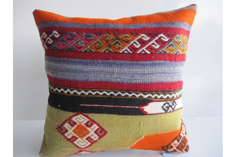 Turkish Kilim Pillow 16x16, ID 083, Kilim From Maras