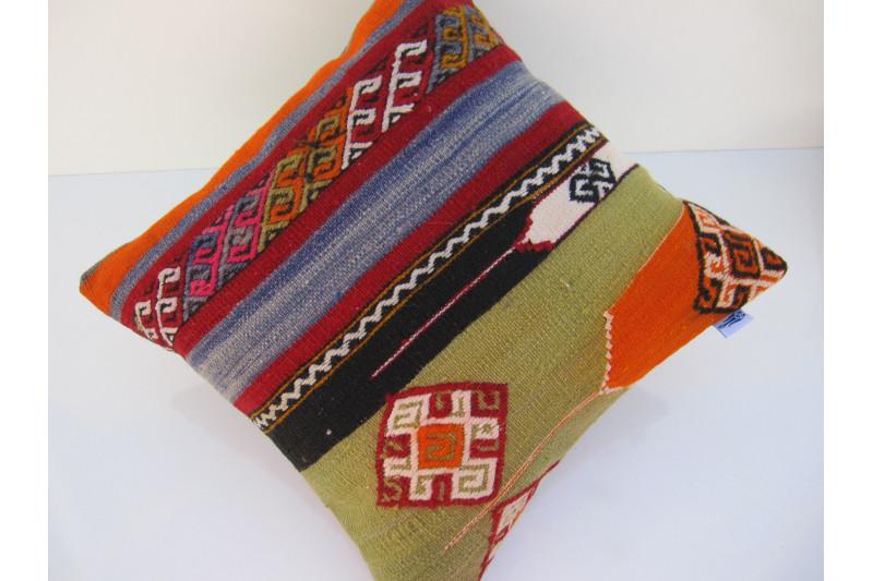 Turkish Kilim Pillow 16x16, ID 083, Kilim From Maras