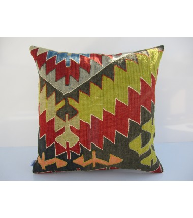 Turkish Kilim Pillow 18x18, ID 118, Kilim From Aydin