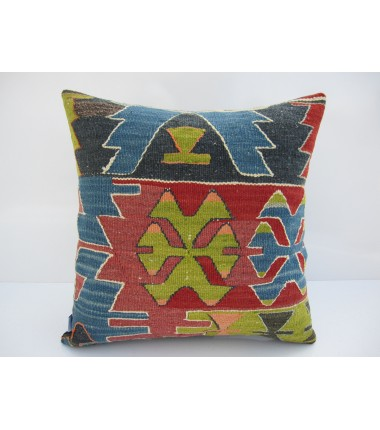 Turkish Kilim Pillow 16x16, ID 117, Kilim From Aydin