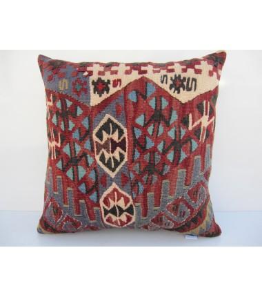 Turkish Kilim Pillow 16x16, ID 116, Kilim From Van