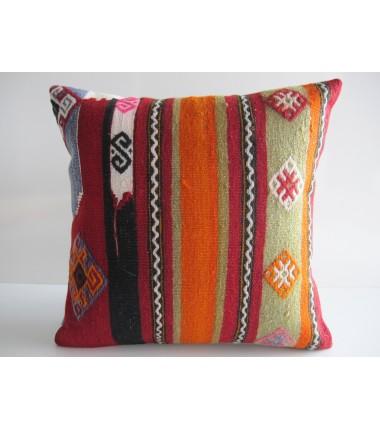 Turkish Kilim Pillow 16x16, ID 115, Kilim From Maras
