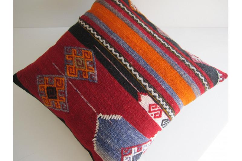 Turkish Kilim Pillow 16x16, ID 113, Kilim From Maras