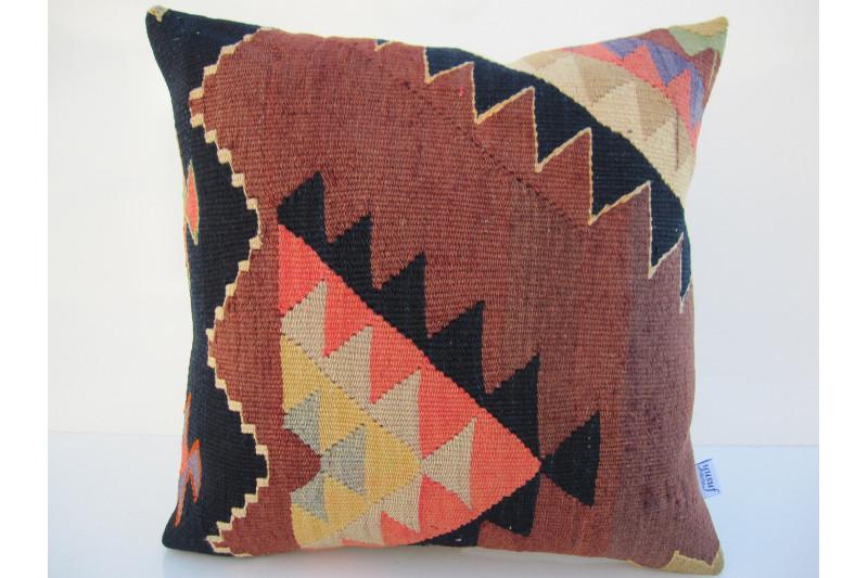 Turkish Kilim Pillow 16x16, ID 112, Kilim From Aydin