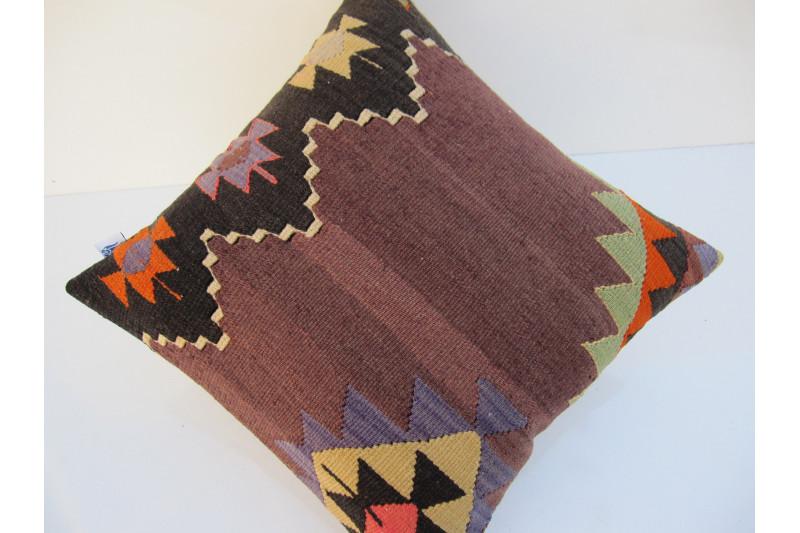 Turkish Kilim Pillow 16x16, ID 109, Kilim From Aydin
