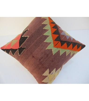 Turkish Kilim Pillow 16x16, ID 108, Kilim From Aydin