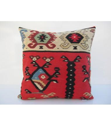 Turkish Kilim Pillow 16x16, ID 105, Kilim From Sarkoy