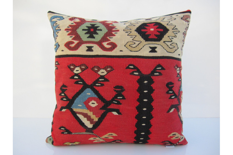 Turkish Kilim Pillow 16x16, ID 105, Kilim From Sarkoy
