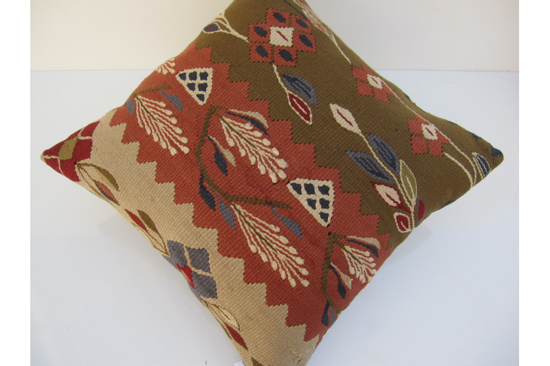 Turkish Kilim Pillow 16x16, ID 103, Kilim From Sarkoy