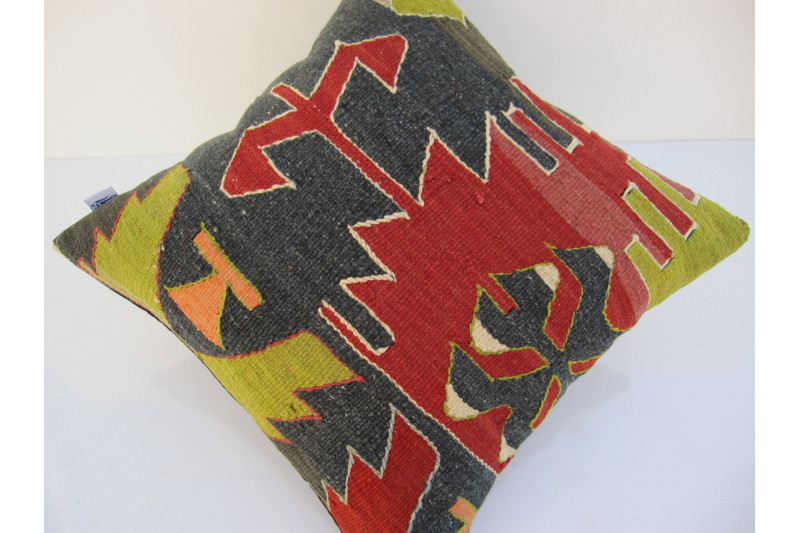 Turkish Kilim Pillow 16x16, ID 098, Kilim From Aydin