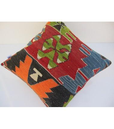 Turkish Kilim Pillow 16x16, ID 094, Kilim From Aydin