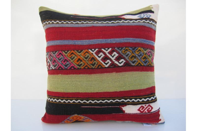 Turkish Kilim Pillow 16x16, ID 091, Kilim From Maras