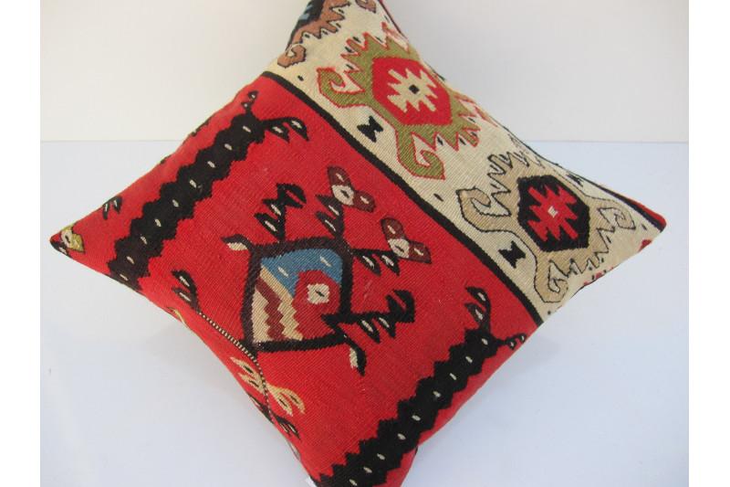 Turkish Kilim Pillow 16x16, ID 090, Kilim From Sarkoy